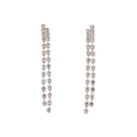 Silver Long Double Row Diamante Drop Earring