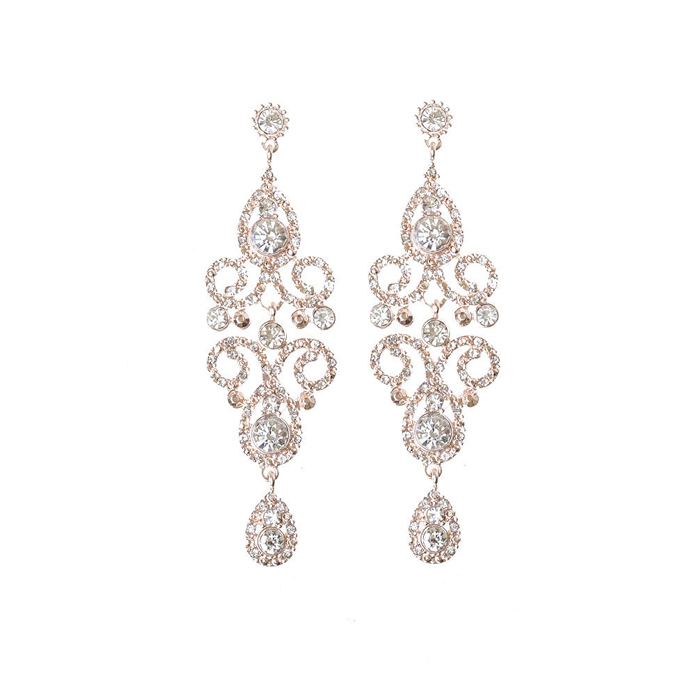 Rose Gold Crystal Bead Filigree Swirl Chandelier Earring