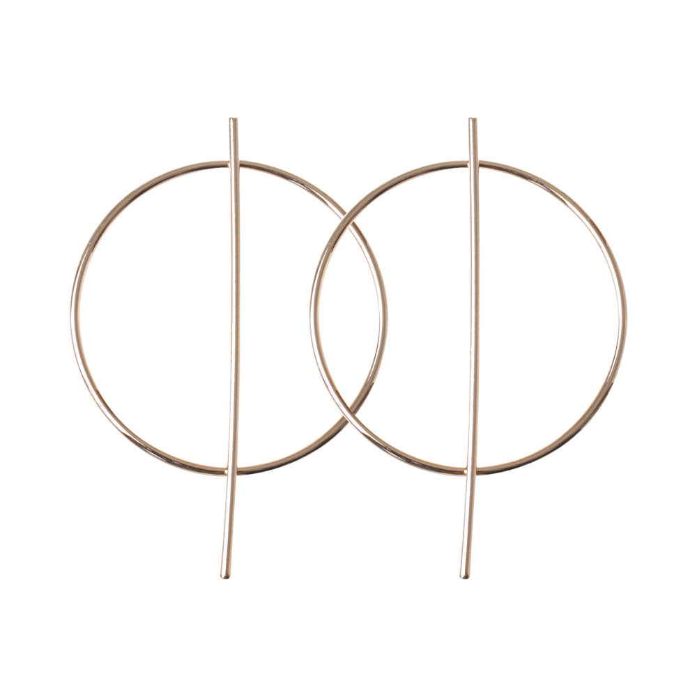 Gold Circle And Bar Statement Earring