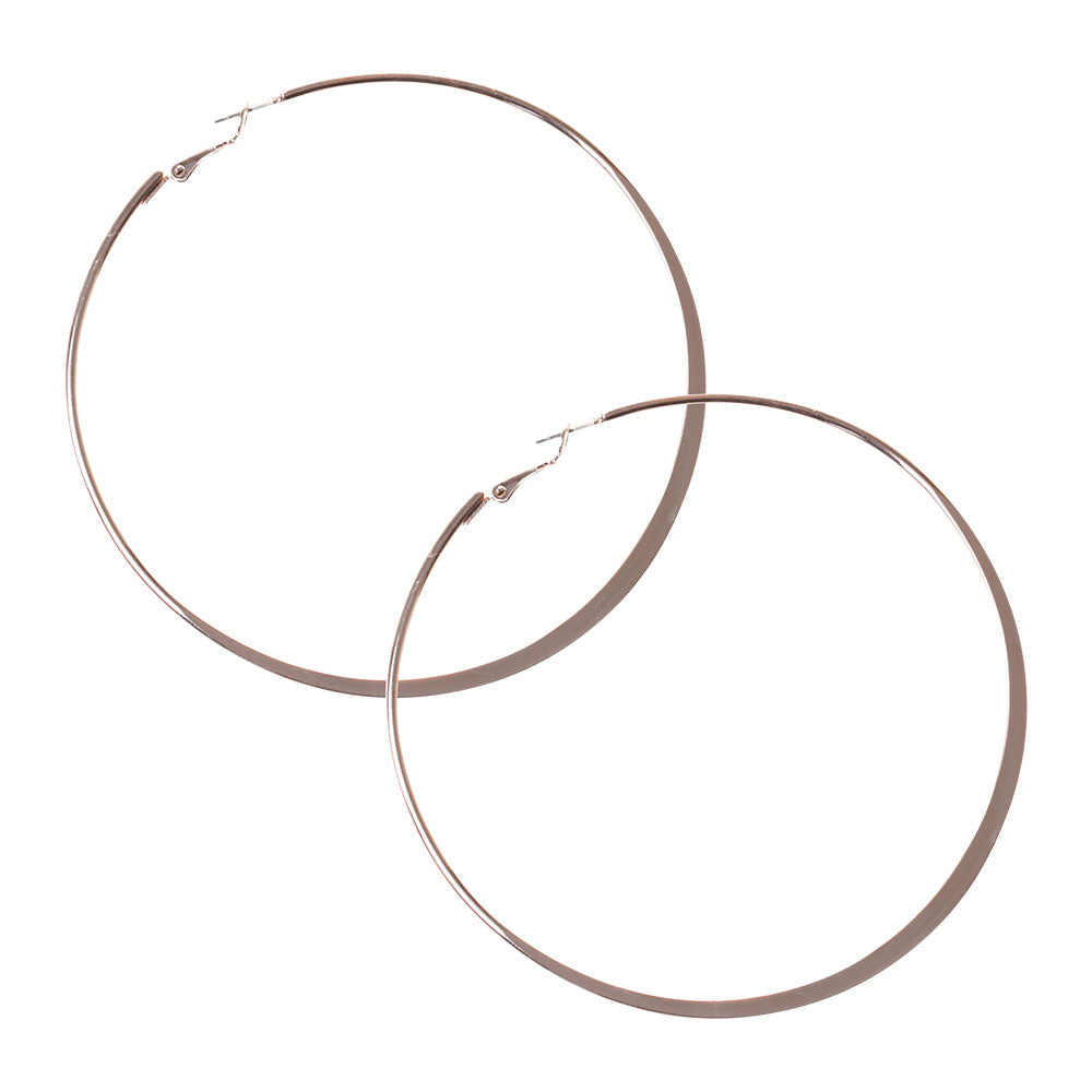 Rose Gold Flat Edge Hoop Earring