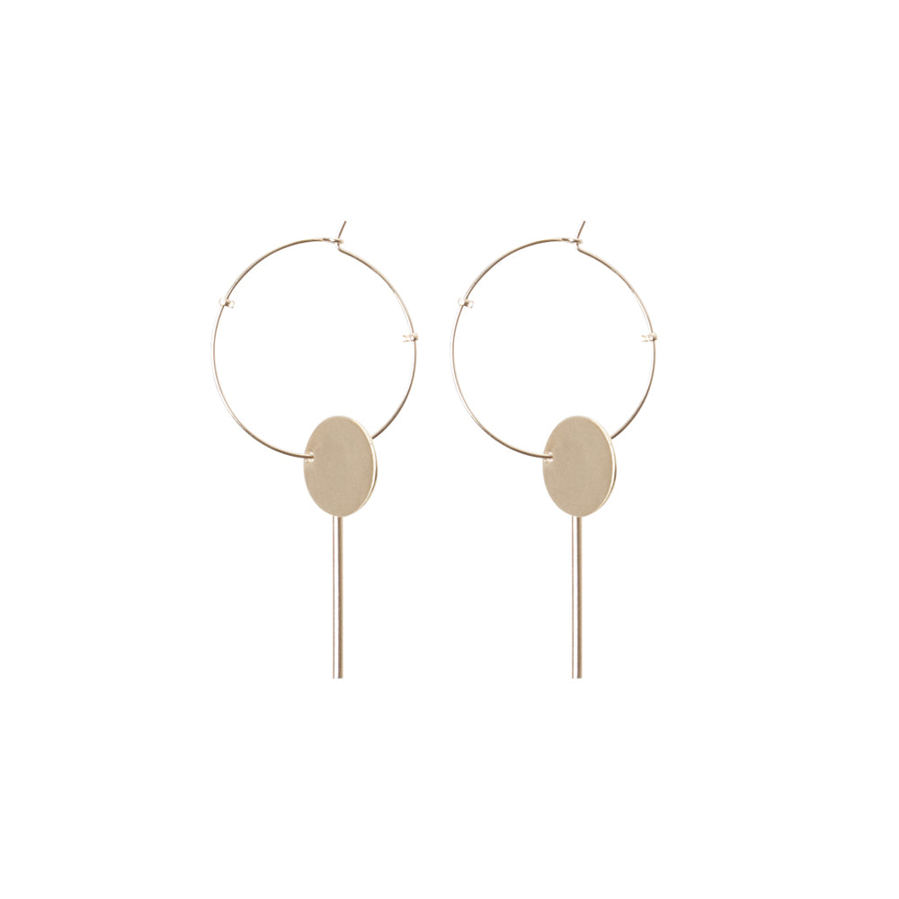 Gold Disc Drop Hoop Earring