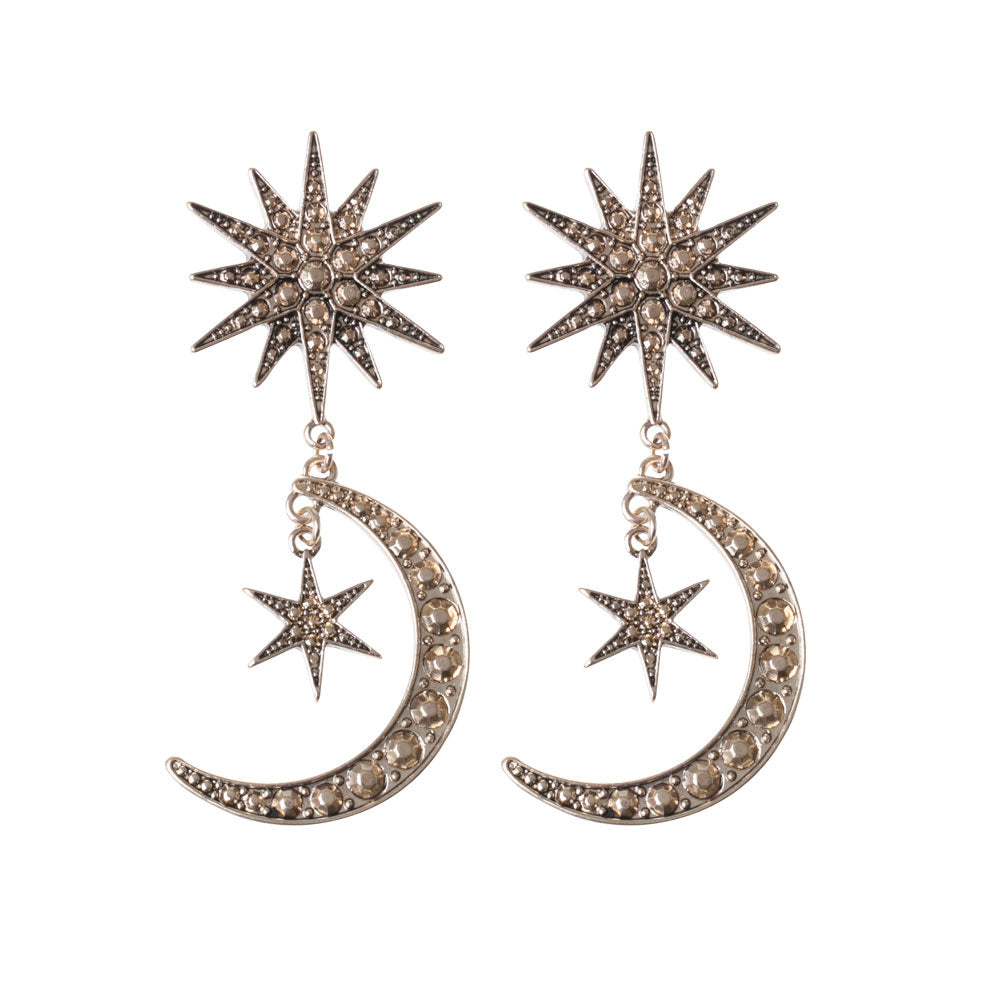 Gold Celestial Moon Earring