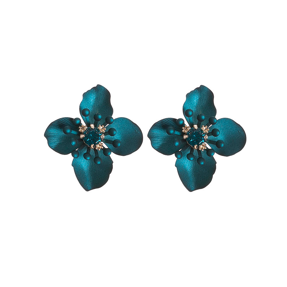 Emerald Petal Statement Studs