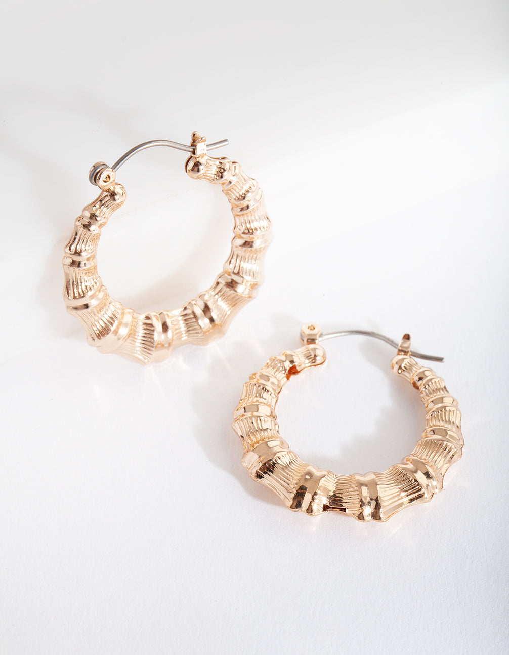 Gold Mini Bamboo Hoop Earring