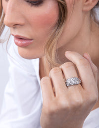 Silver Chain Diamante Ring - link has visual effect only