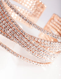 Rose Gold Diamante Wide Layered Cuff
