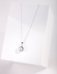 Sterling Silver 3Ct CZ Solitaire Pendant Necklace