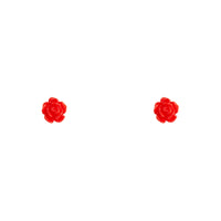 Tiny Red Rose Stud Earring - link has visual effect only