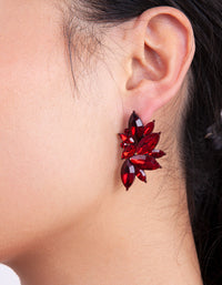 Red Gem Statement Stud Earring