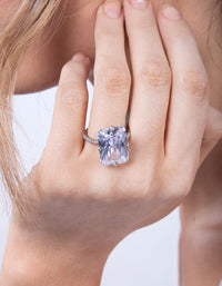 Rhodium Rectangle Celebrity Engagement Ring - link has visual effect only