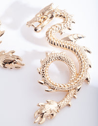Gold Spiked Dragon Earring