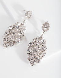 Silver Oval Gem Cluster Earring - link has visual effect only