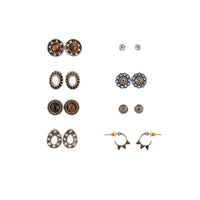 Antique Gold & Neutral 8 Pack Stud Earrings