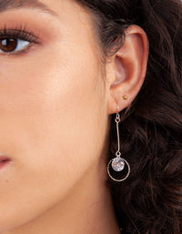 Silver Cubic Zirconia Circle Drop Earrings - link has visual effect only