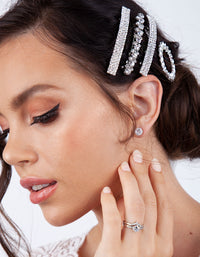 Rhodium Double Diamante Barrette - link has visual effect only
