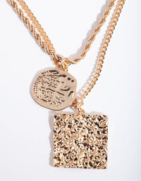 Gold Textured Pendant Necklace Duo