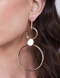 Gold Double Ring Stick Drop Earring