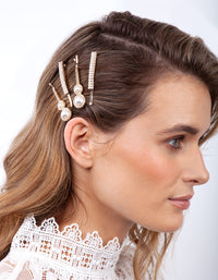 Gold Diamante Pearl Hair Clip 4 Pack