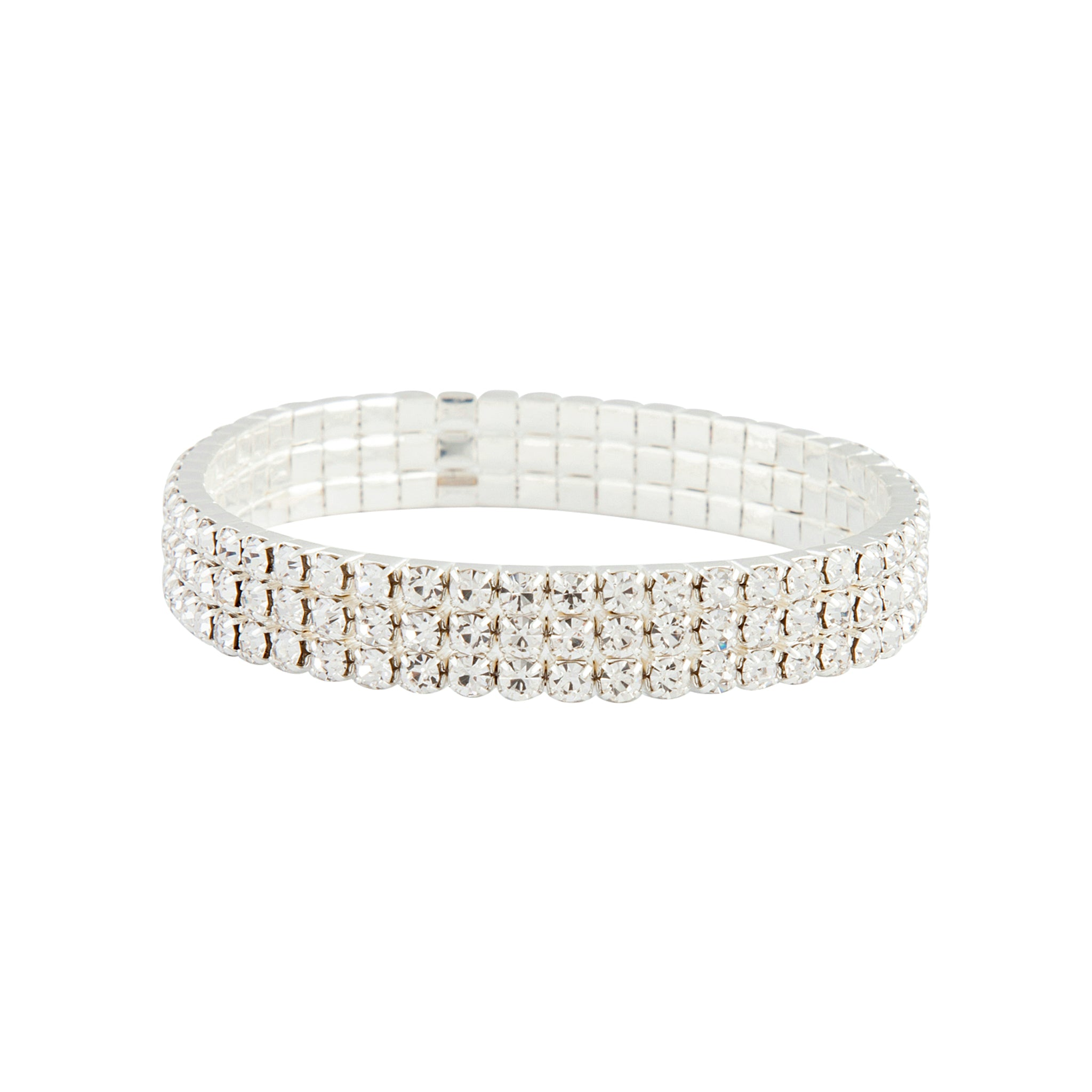 Silver Stretch Three Row Diamante Bracelet