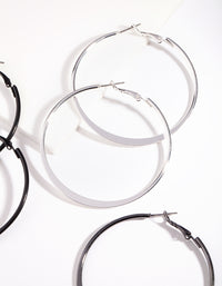 Silver Flat Edge Hoop Earring 3 Pack - link has visual effect only