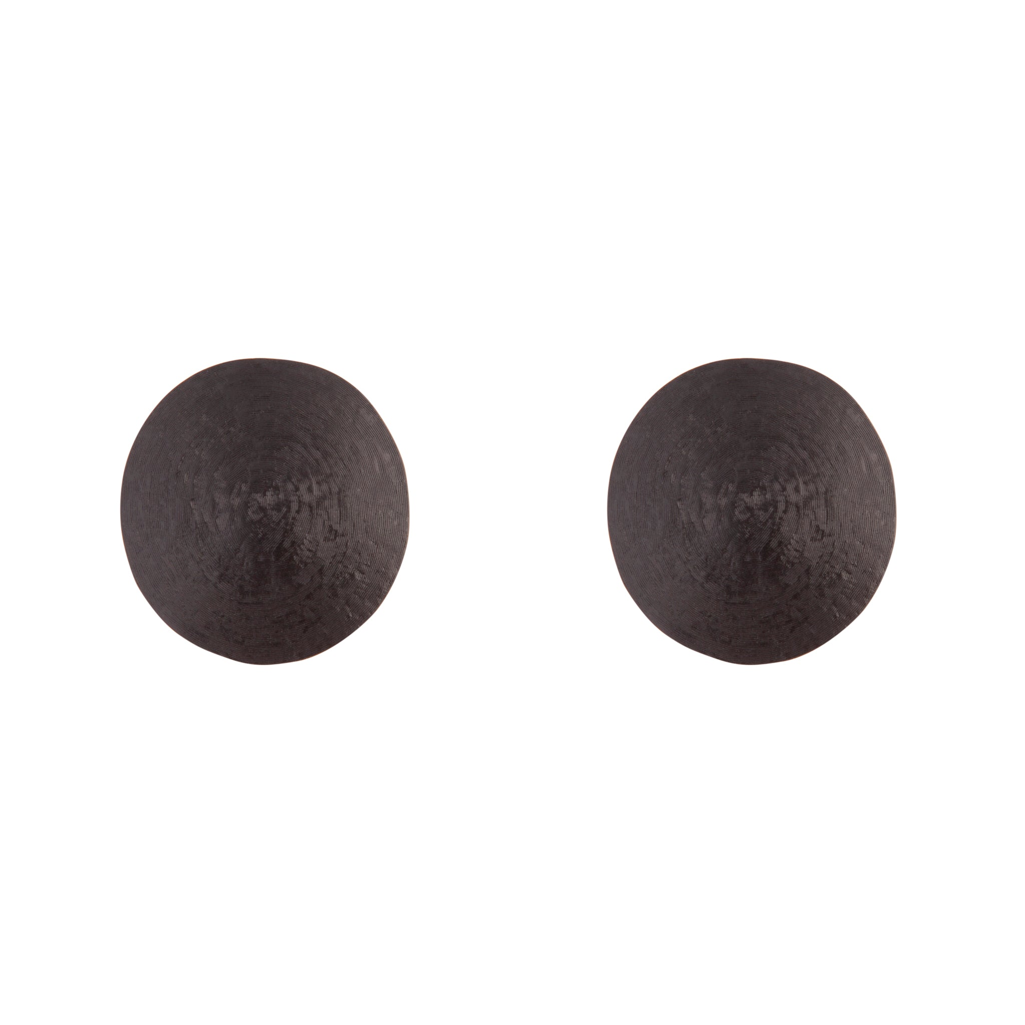 Black Round Textured Earring