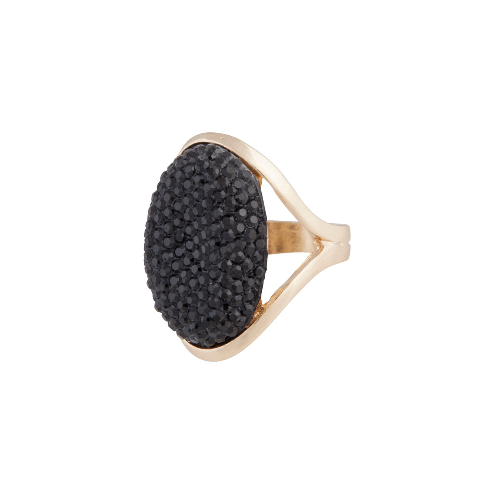 Black Sparkly Dome Ring