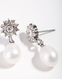 Rhodium Flower Pearl Drop Earring - link has visual effect only