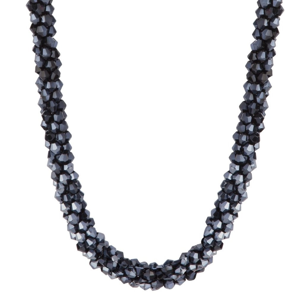 Midnight Navy Cut Out Bead Collar Necklace