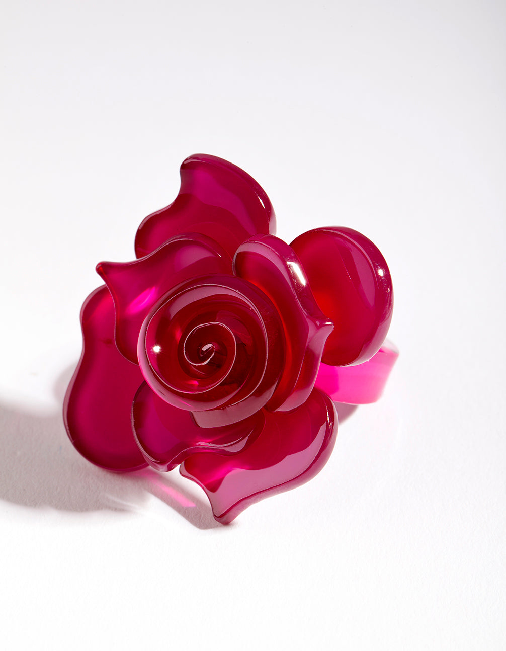 Acrylic Pink Flower Ring