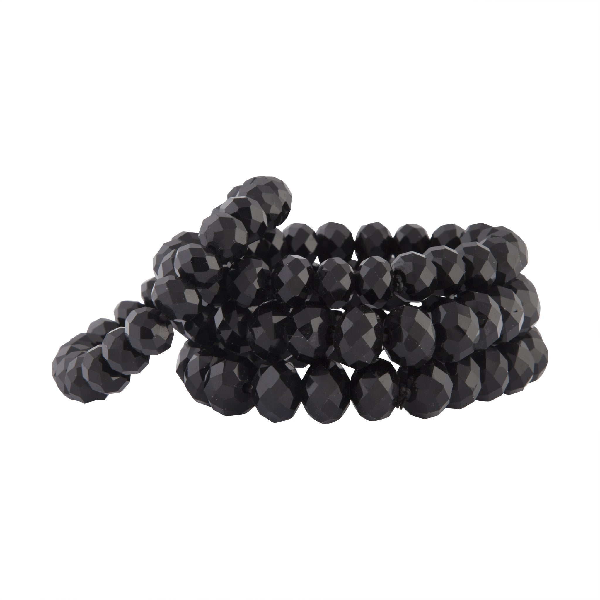 Black Faceted Bead Stretch Bracelet 4 Pack