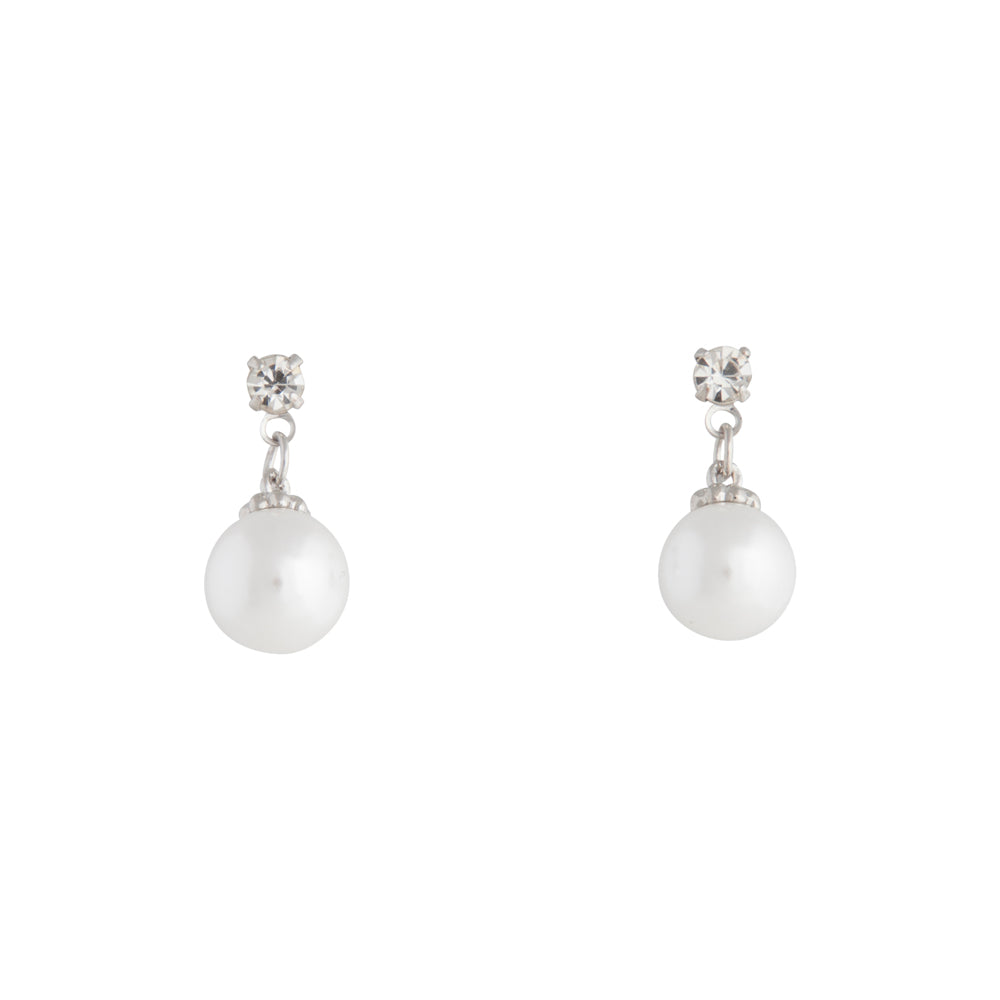 Small Diamante Pearlised Bead Drop Earring