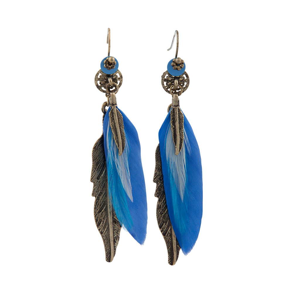 Mixed Blue Feather Drop Earring