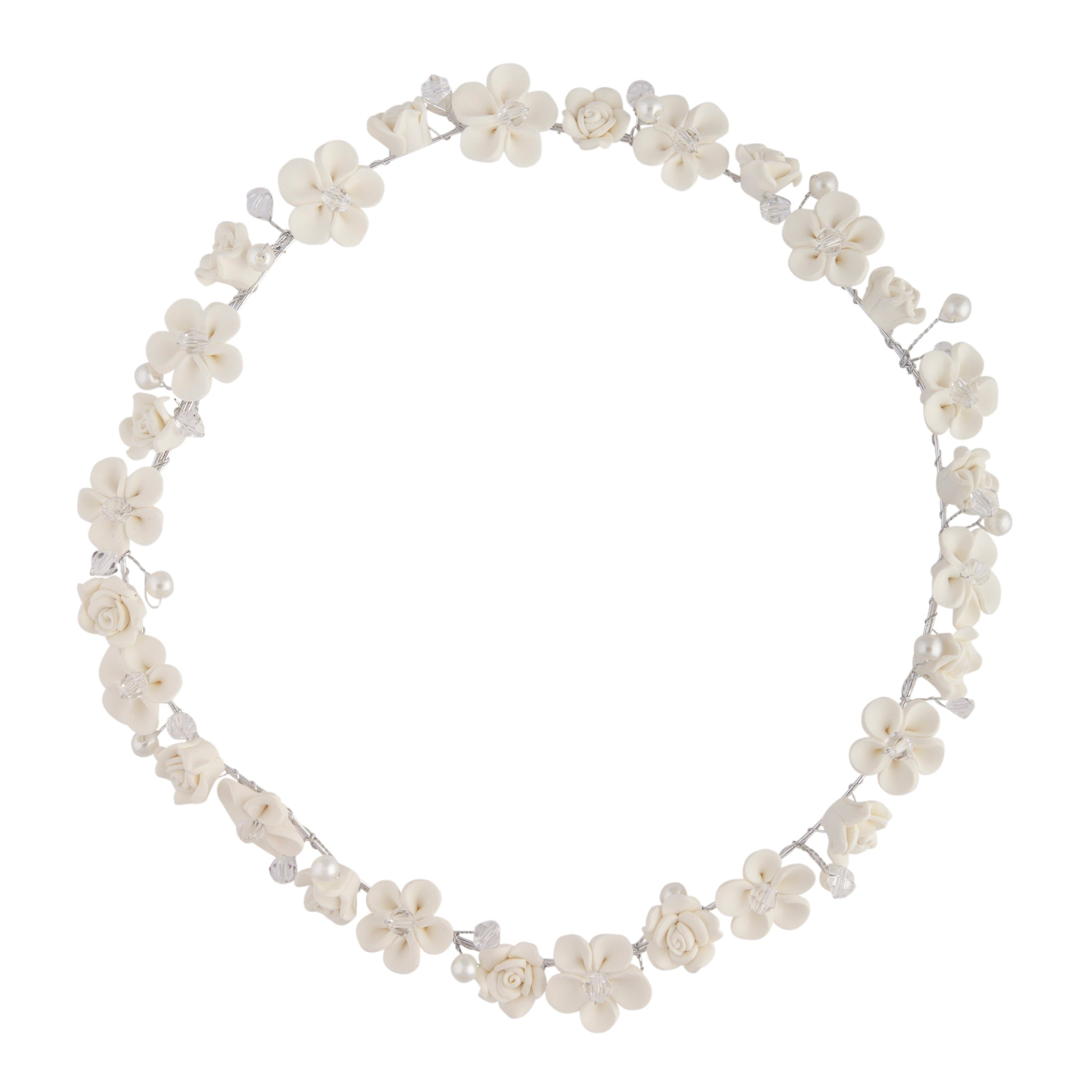 White Flower Pearl Halo Headband