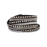 Studded Black Fabric Cross Wrap Bracelet - link has visual effect only