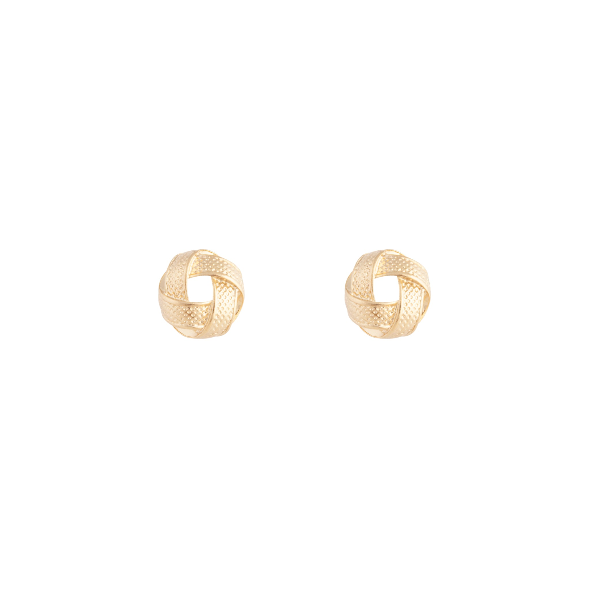 Gold Textured Knot Stud Earring