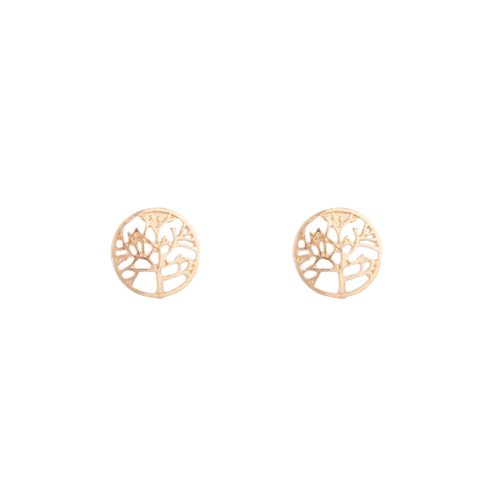 Gold Tree Of Life Stud Earrings