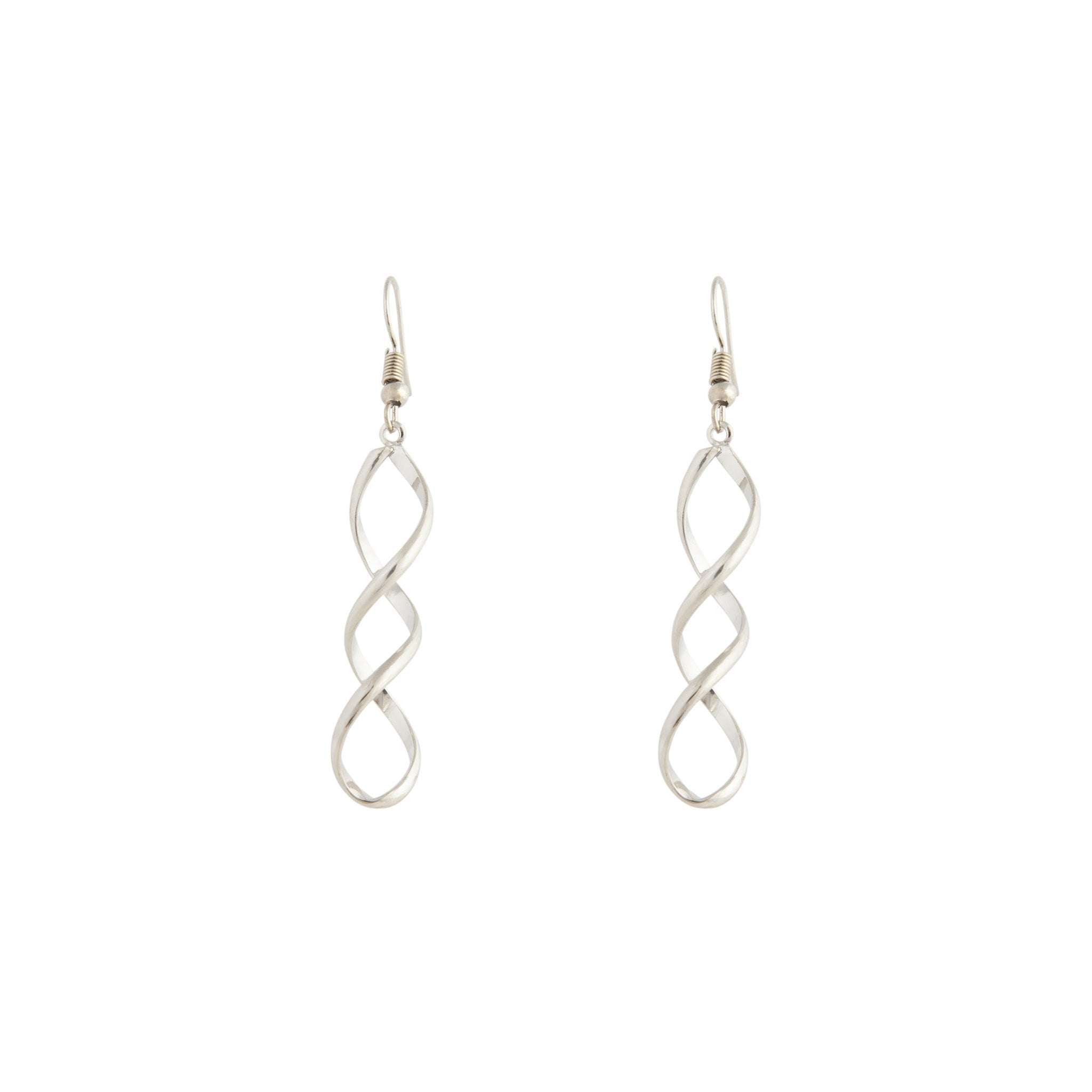 Silver Wave Drop Earring