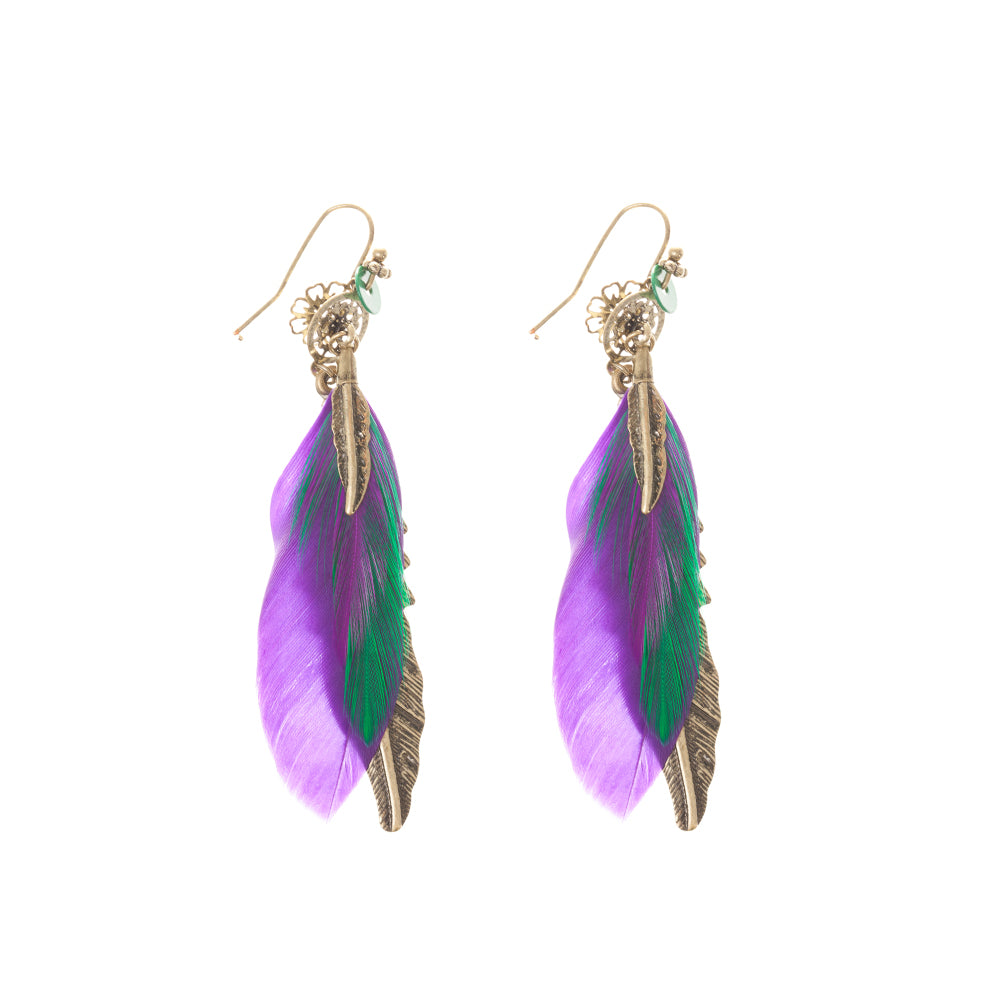 Multi Feather Drop Earring