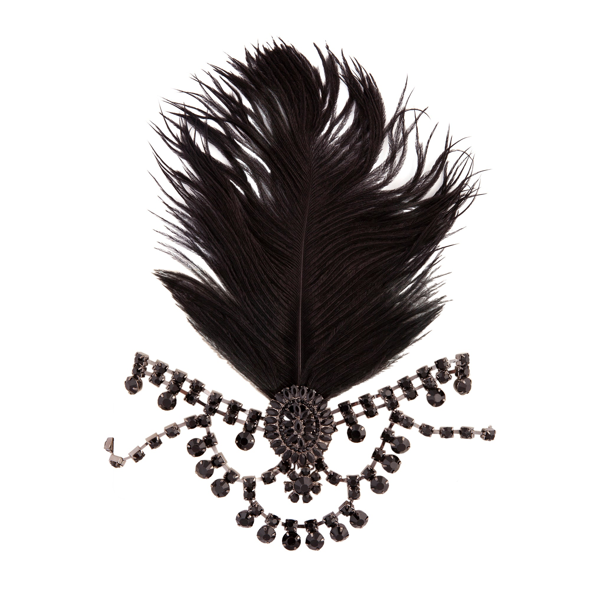 Black 1920's Gatsby Statement Feather and Jewel Headband