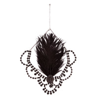 Black 1920's Gatsby Statement Feather and Jewel Headband - link has visual effect only