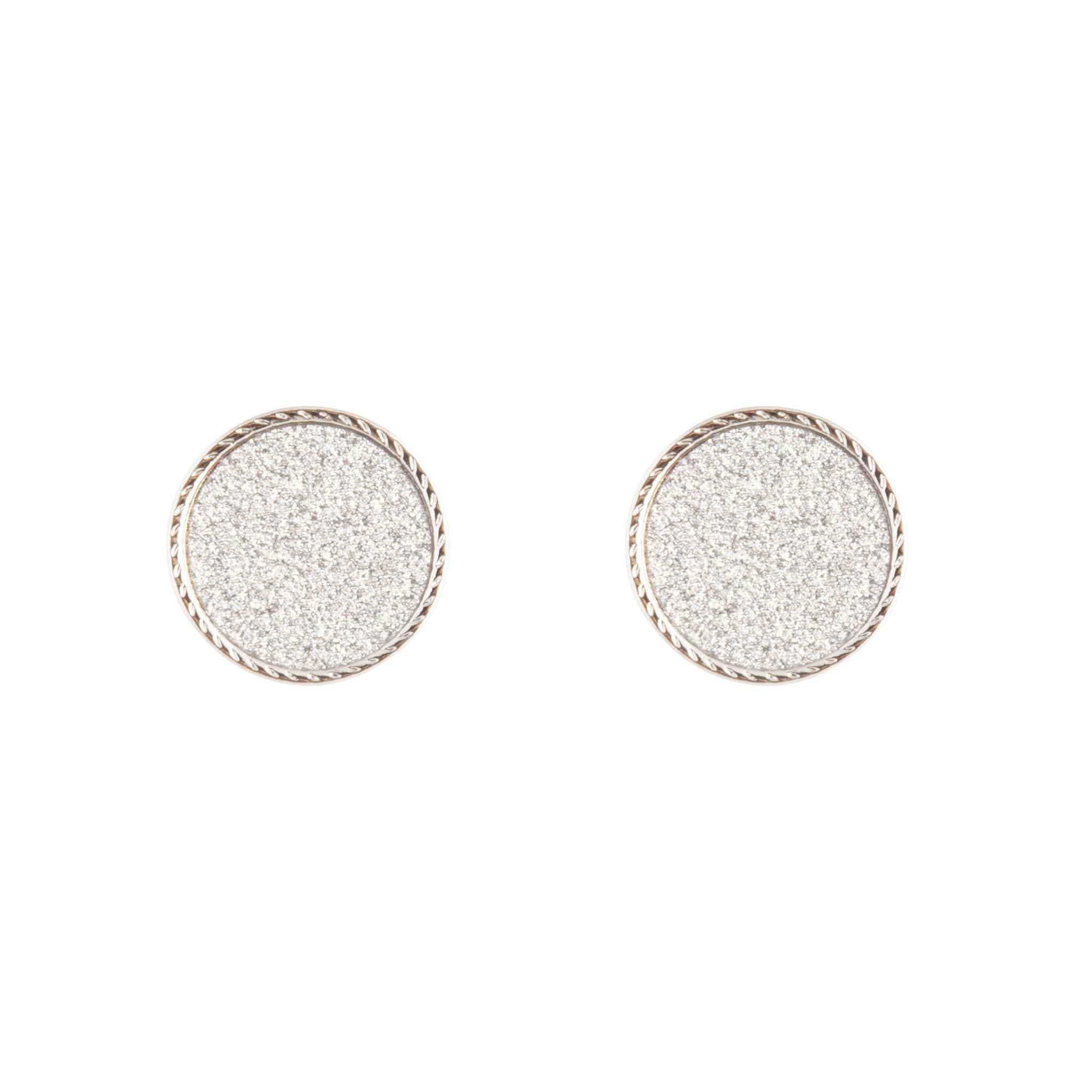 Silver Glitter Inlay Disc Earring