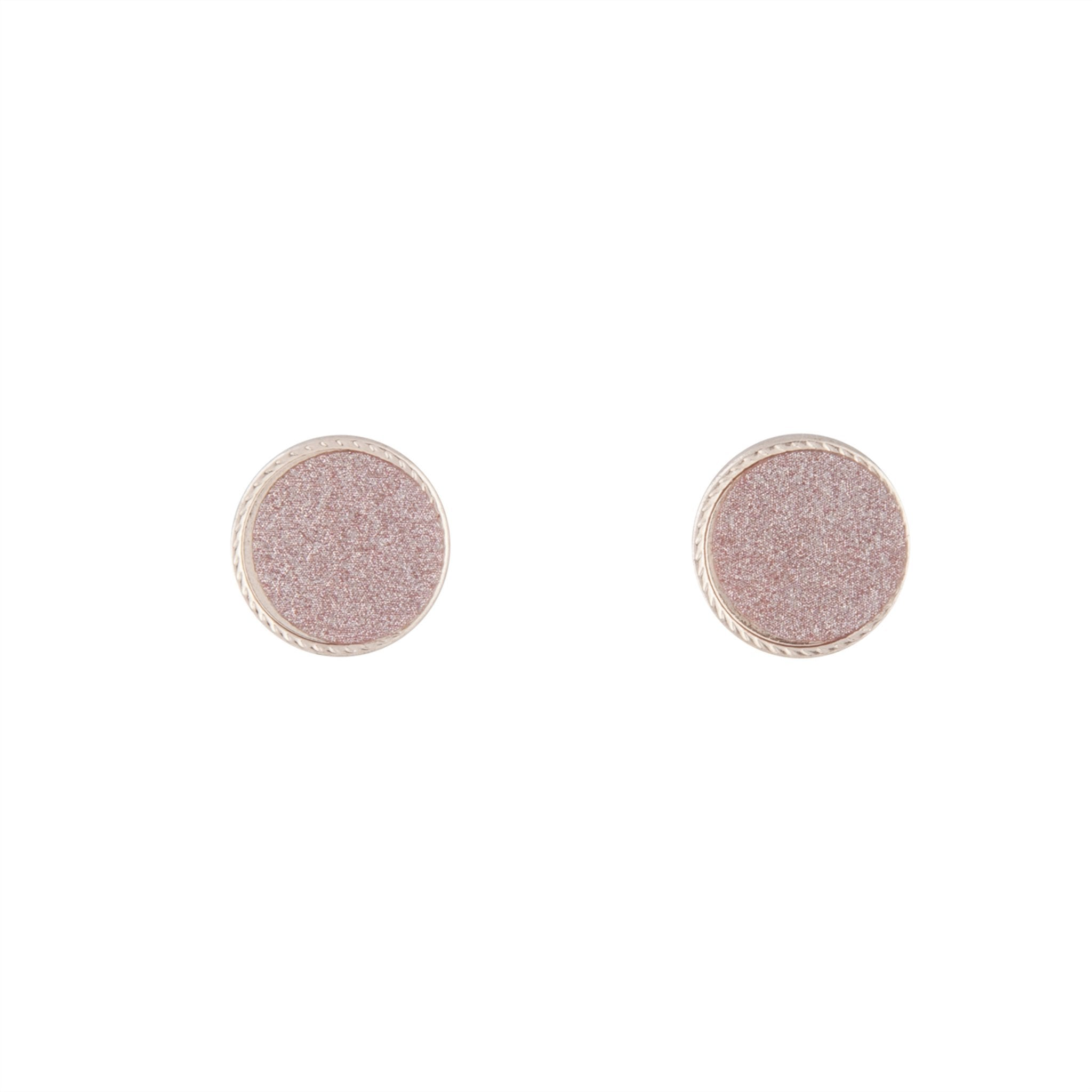 Rose Gold Pink Glitter Inlay Disc Earring