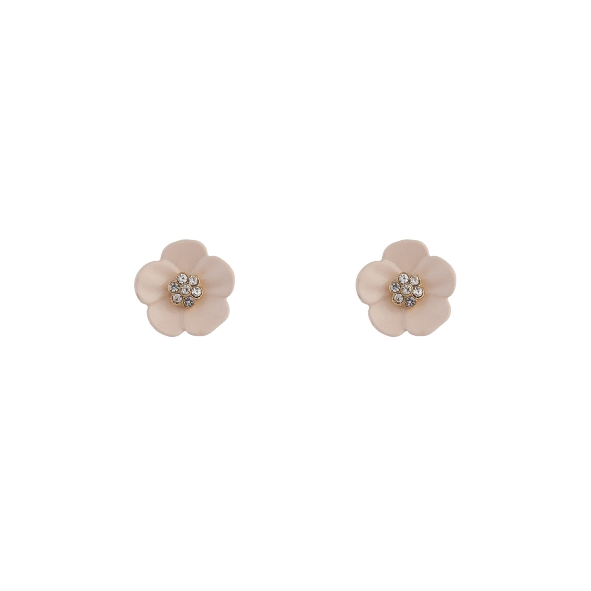 Pink Flower and Stone Stud Earrings