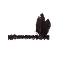 Black Lace Headband with Two Feathers - link has visual effect only