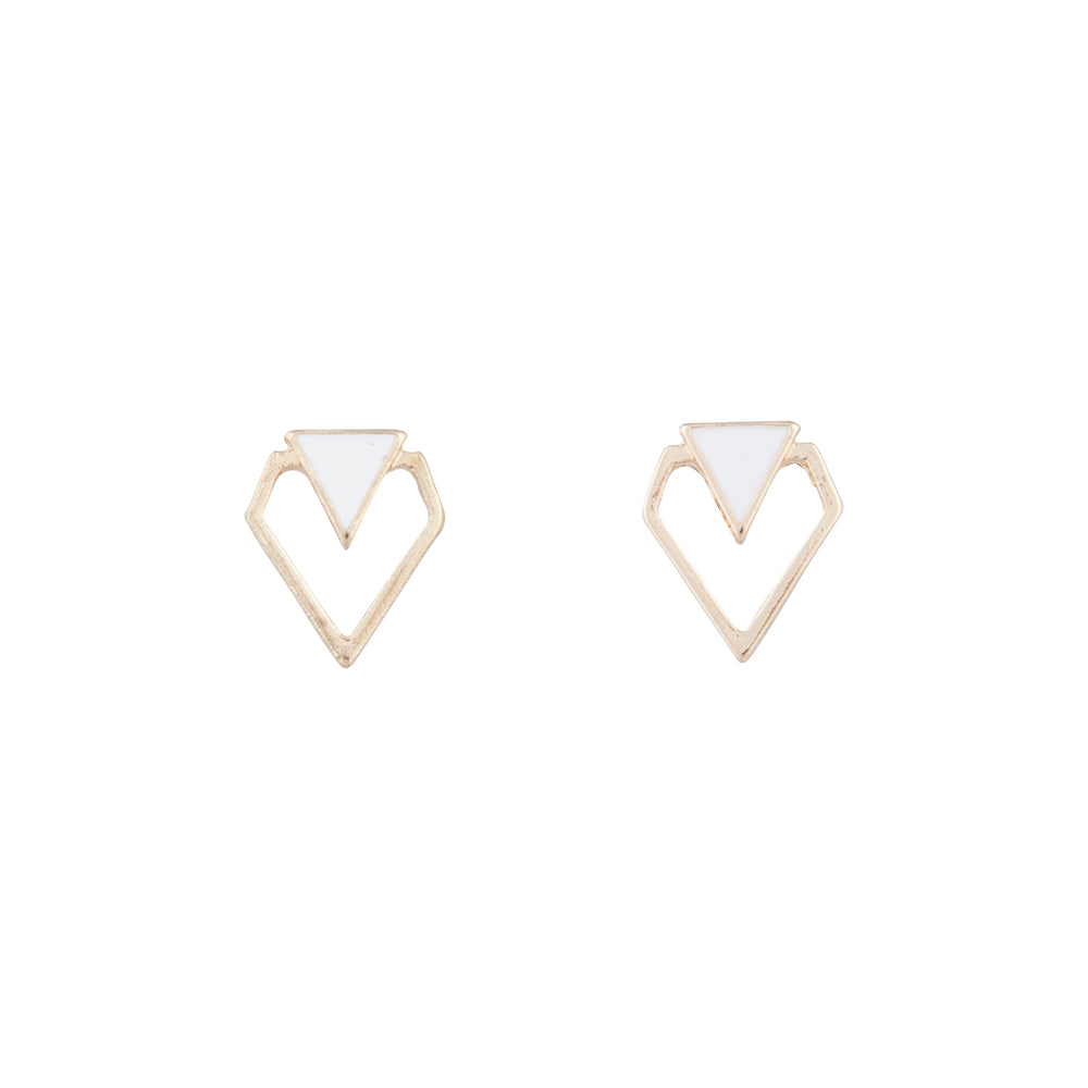 White And Gold Mini Geometric Stud