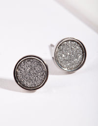 Round Silver Glitter Paper Earrings - link has visual effect only