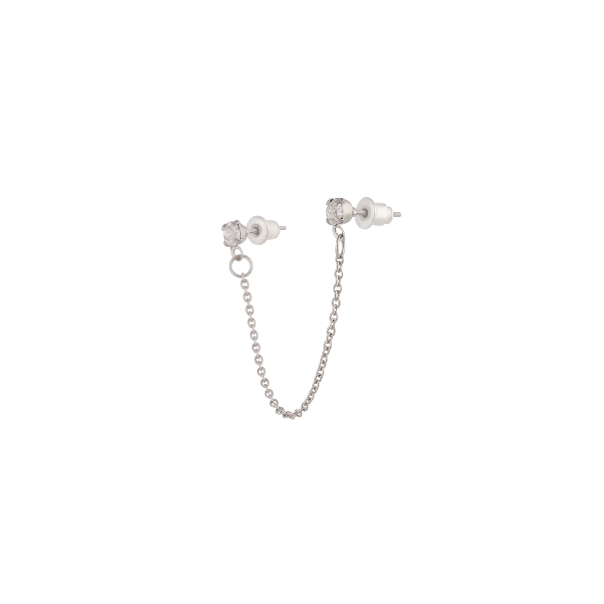 Silver Double Diamante Chain Earring