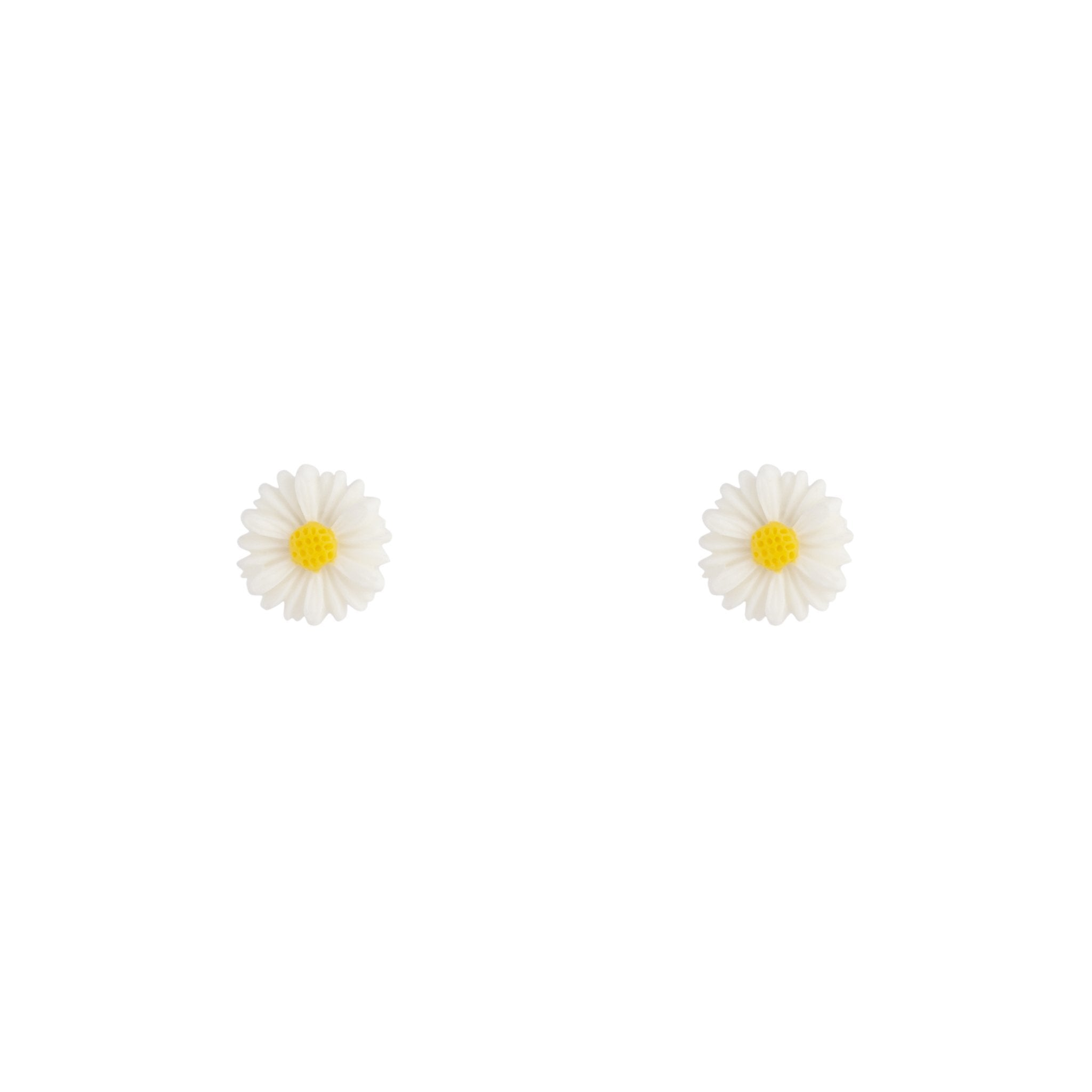 White Daisy Love Stud Earrings