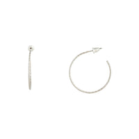 Silver Medium Diamond Cut Hoop Earring - link has visual effect only