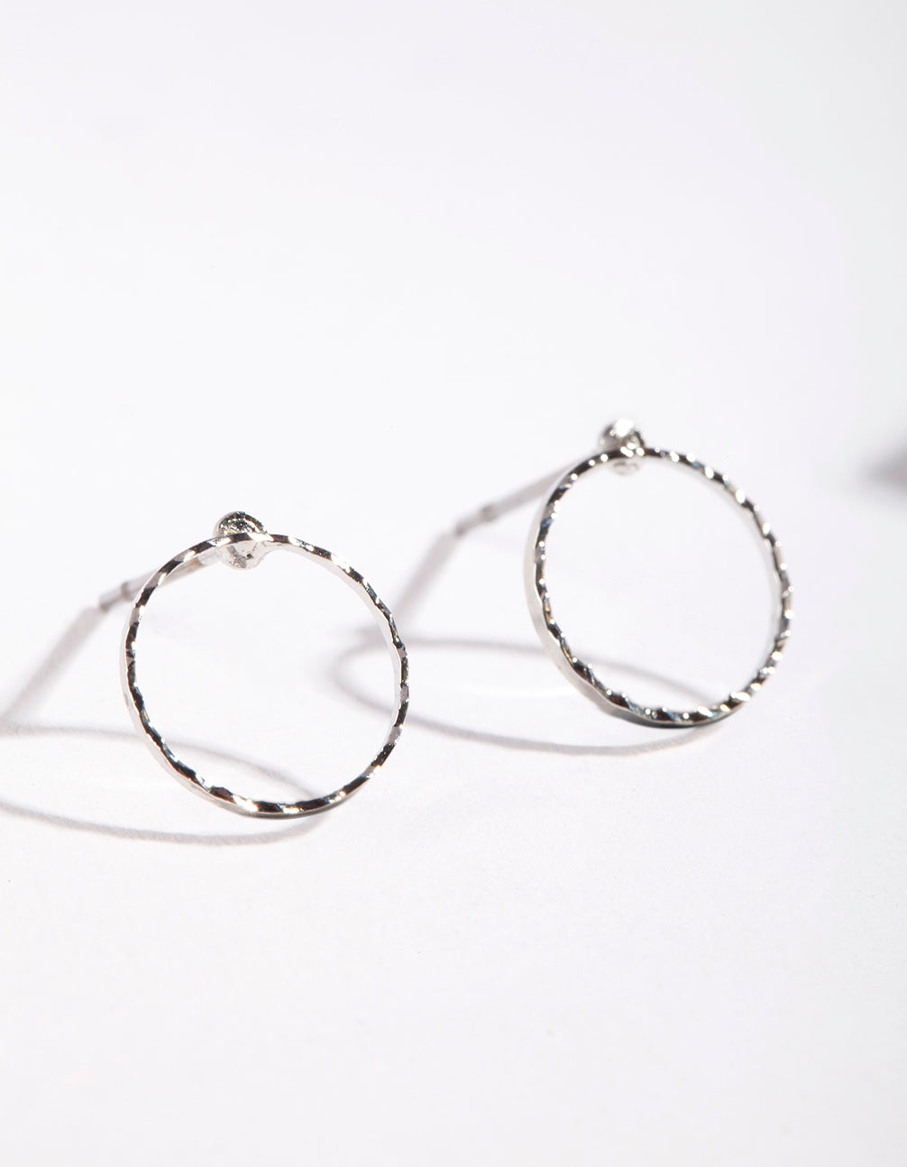 Rhodium Open Circle Stud Earrings